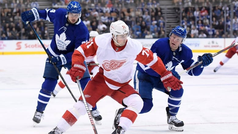 00ddcfb2be0 Detroit Red Wings centre Dylan Larkin (71) moves past Toronto Maple Leafs  defenceman Morgan Rielly (44) in the third period on Thursday night.