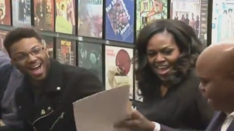 Michelle Obama surprises students at Detroit's Motown Museum during Becoming tour