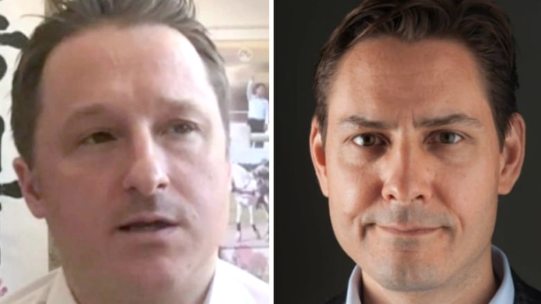 Michael Spavor, left, and former Canadian diplomat Michael Kovrig, right, are being held by Chinese authorities. (Associated Press/International Crisis Group/Canadian Press)