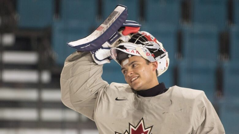 Canadian Goaltender Mike DiPietro A Vancouver Canucks Draft Pick Is Seen During Practice At The Sandman Centre In Kamloops BC Monday July 30 2018
