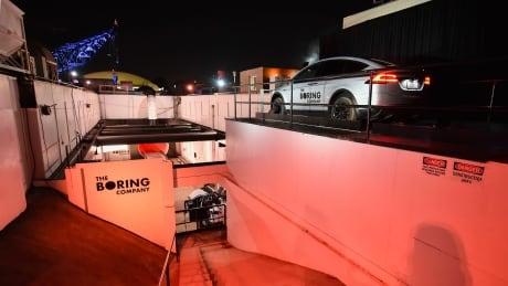 elon musk unveils underground tunnel prototype
