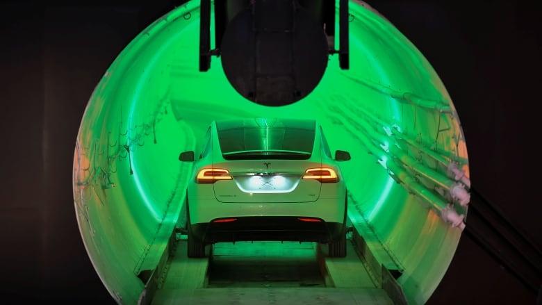 Elon Musk unveils underground tunnel prototype | CBC News