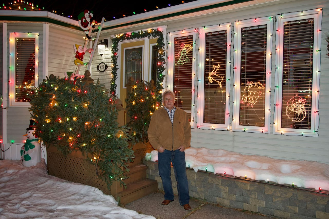The Goulds is lit thanks to a Christmas light display that draws a