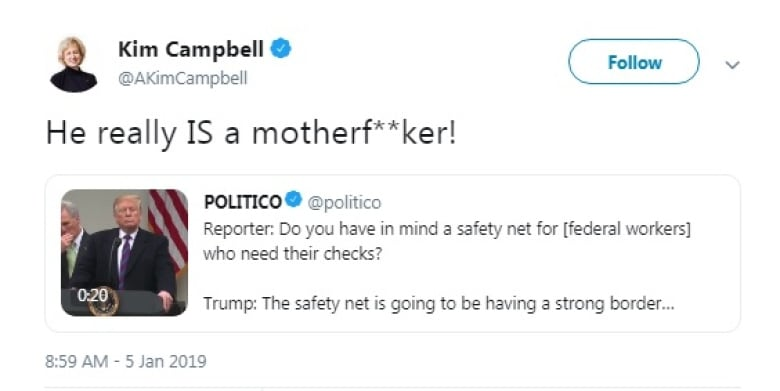 Former prime minister Kim Campbell cusses out Trump in tweet   CBC News
