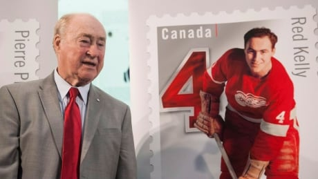 Red Kelly, at the unveiling of a stamp featuring him as a Detroit Red Wing, Oct. 2, 2014