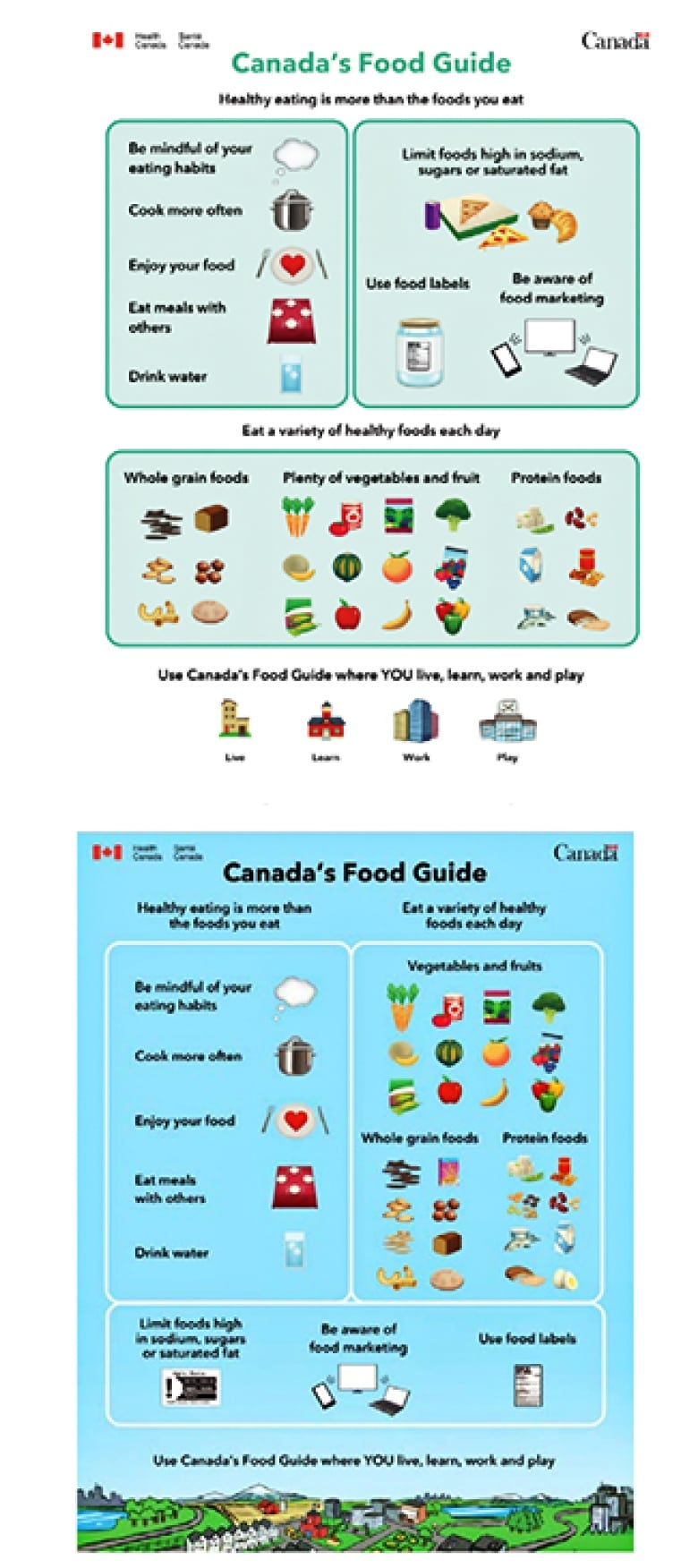 Two Draft Versions Of The At A Glance Graphic Were Shown To Focus Groups As Part Of Health Canadas Consultations On The Revisions To Canadas Food Guide