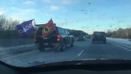 401 convoy Mohawk protest