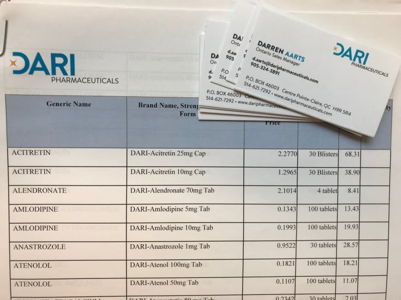 'Greed is a powerful weapon': Are illegal kickbacks in Ontario driving up the cost of your generic drugs? dari pharma price list and business card jpg