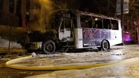 Shuttle bus fire city hall Bacio Rosso