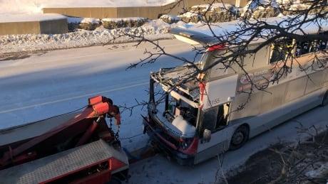 OC transpo double decker bus crash westboro station towed away