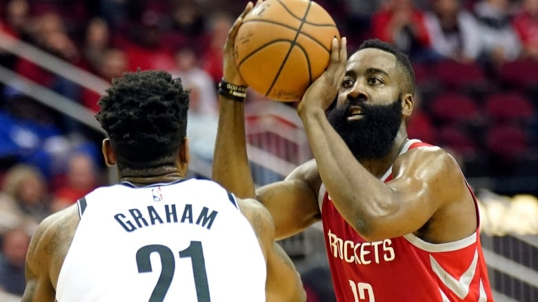 4ec1e0d222a Houston s James Harden shoots for two of his 58 points against the Brooklyn  Nets on Wednesday