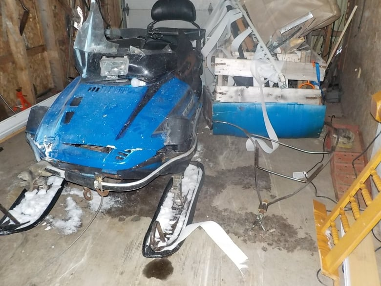 Rogue snowmobile escapes husband, smashes through house and lands on wife