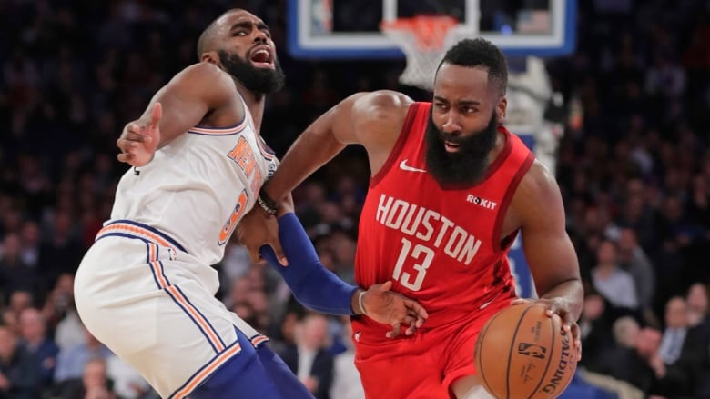 1199cc4bfb5d Houston Rockets  James Harden (13) drives past New York Knicks  Tim  Hardaway Jr. (3) during the first half of a game on Wednesday.
