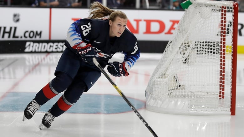 United States  Kendall Coyne Schofield skates as part of the all-star  skills competition on Friday night. (Ben Margot The Associated Press) 45a7565c7