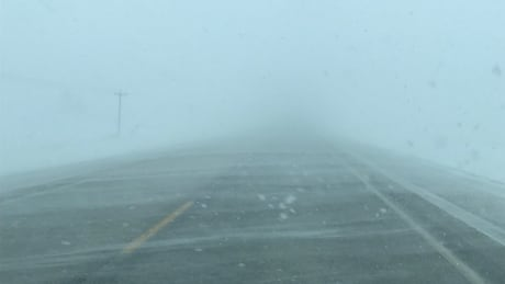 Blowing snow on Highway 3 near Morden, Man. on Sunday afternoon.