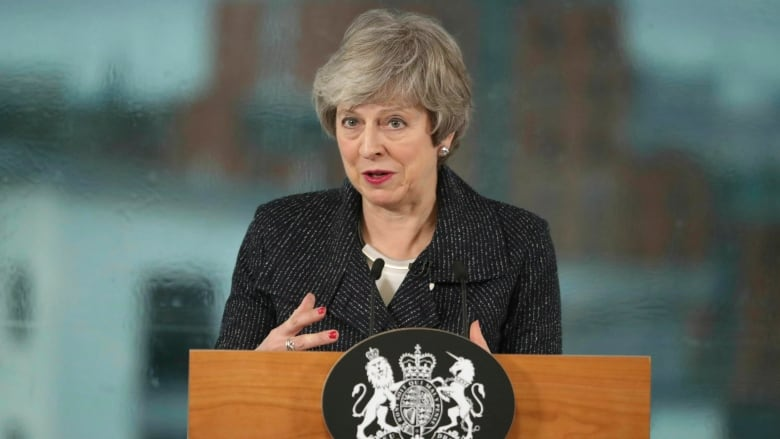 2c3ddd43b9 Britain s Prime Minister Theresa May speaks with business representatives  in Belfast as part of a trip to Northern Ireland to try and assuage British  ...