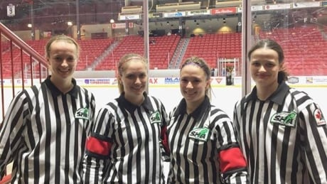 Alex Clarke Michelle Stapleton Cianna Lieffers Krista Funke referee hockey
