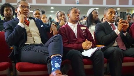Students listen to Al Sharpton at Virginia Union University