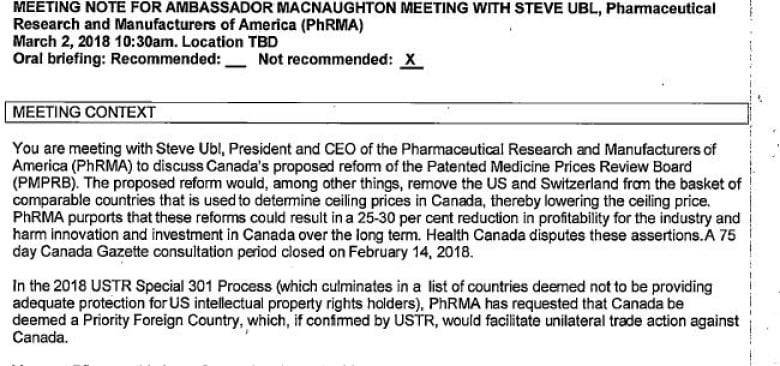 U S  PhRMA's fight to prevent lower Canadian drug prices