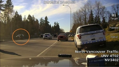 North Vancouver RCMP officer hit by black motorcycle