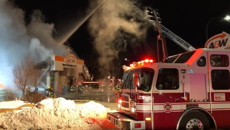 When fire-paramedic crews arrived at the A&W at 5:17 p.m. the building was fully engulfed, with flam