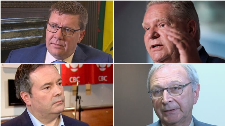 bcaa897e68ff2 Opponents of the carbon tax: Clockwise from top left are Saskatchewan  Premier Scott Moe, Ontario Premier Doug Ford, New Brunswick Premier Blaine  Higgs and ...