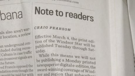 Windsor Star shutting down Monday digital and print editions, no jobs affected