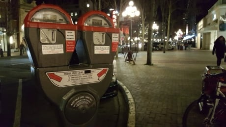 City of Victoria parking metre night