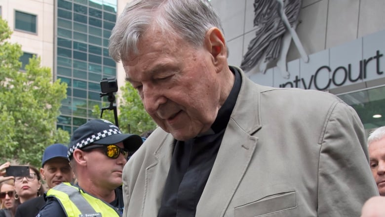 Cardinal George Pell leaves the County Court in Melbourne, Australia,  Tuesday, Feb. 26, 2019. Pell was convicted in December of molesting two  choirboys ...