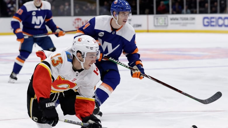 4c1dd174073 Calgary Flames left wing Johnny Gaudreau (13) had an assist in his team's  victory over the New York Islanders on Tuesday night.