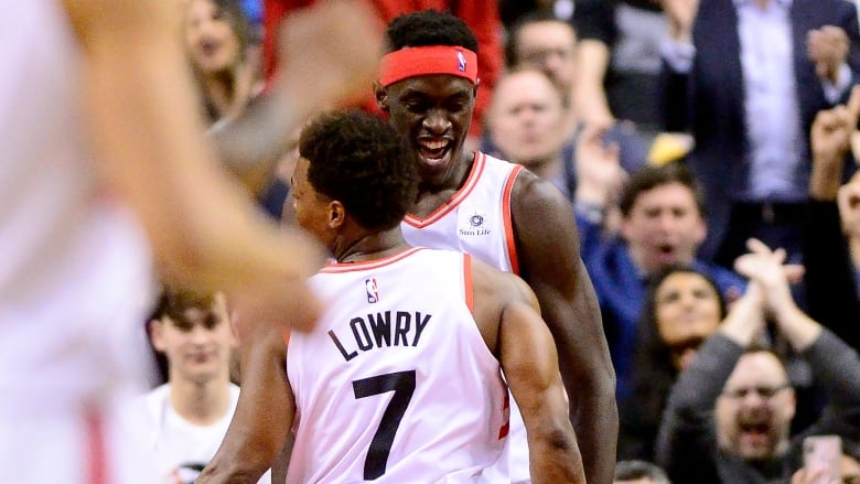 911f9b652 Toronto Raptors guard Kyle Lowry (7) and teammate Pascal Siakam (43)  celebrate a point during the first half. (Frank Gunn The Canadian Press)