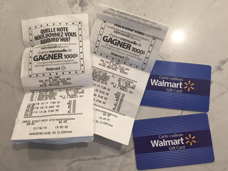 Montreal woman stunned to find her Walmart gift cards