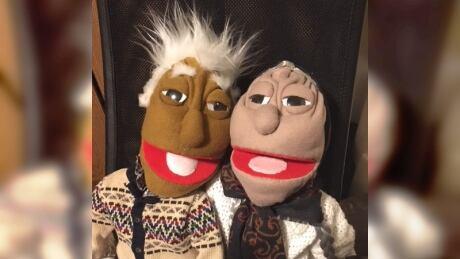 Grandma and Grandpa elder puppets teaching language