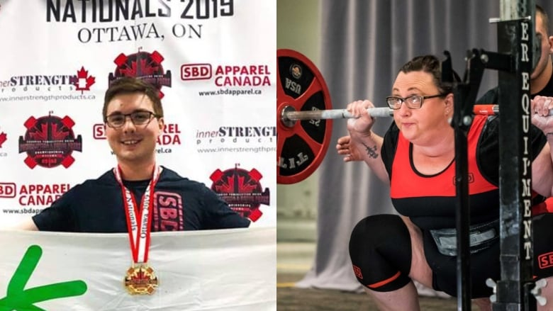 A gold medal and a national record power N L  lifters above