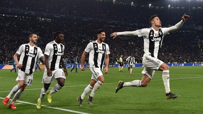 Juventus  Cristiano Ronaldo celebrates one of his three goals in his team s  win over Atletico Madrid on Tuesday. (Tullio M. Puglia Getty Image) e74e07ff9cc