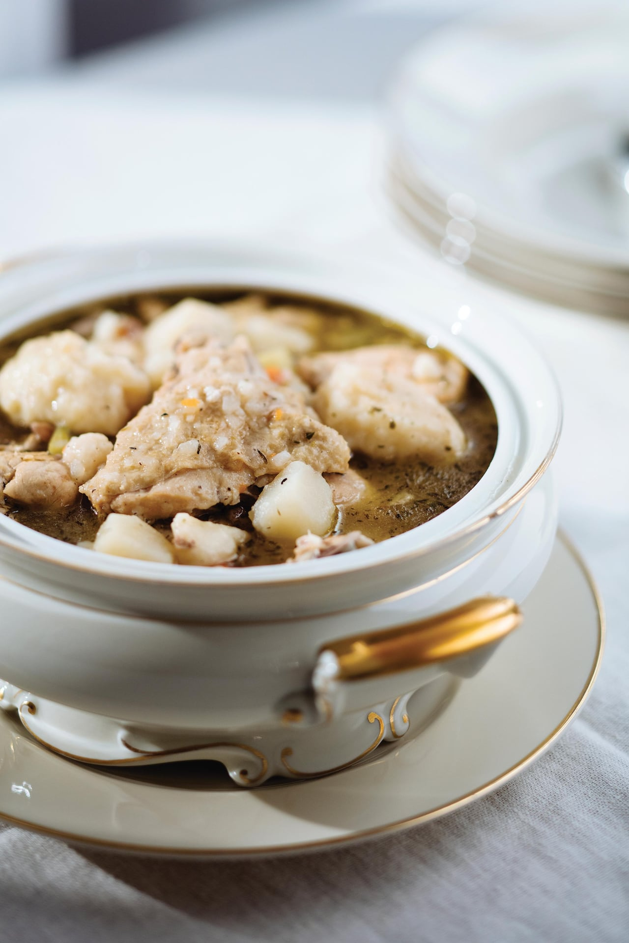 Make this Cheticamp-style chicken fricot with dumplings for a simple stew to keep you cozy