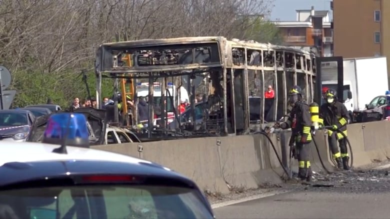Italian bus hijacked, set on fire, but 51 children and their chaperones escape