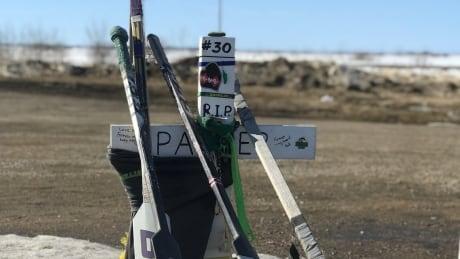 Humboldt Broncos sticks at memorial site March 21, 2019