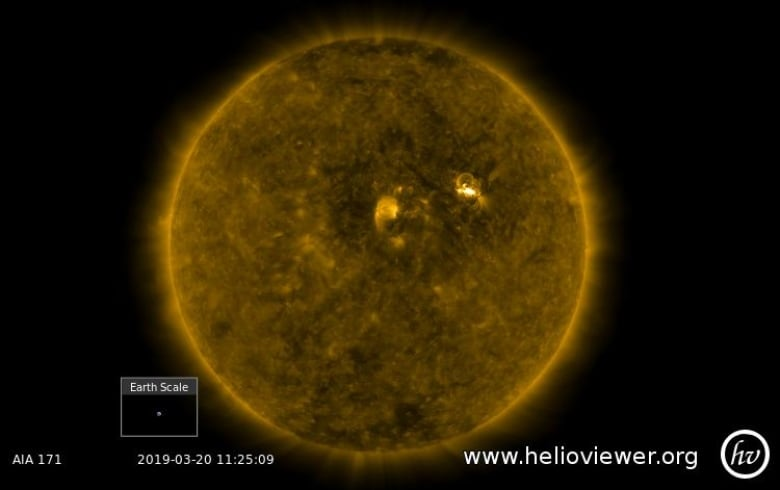 the sun produced a c-class solar flare on march 20, and the subsequent  stream of particles from a coronal mass ejection are on their way to earth