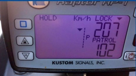 Uninsured and unlicensed motorcyclist caught going 207 km/h on Okanagan highway
