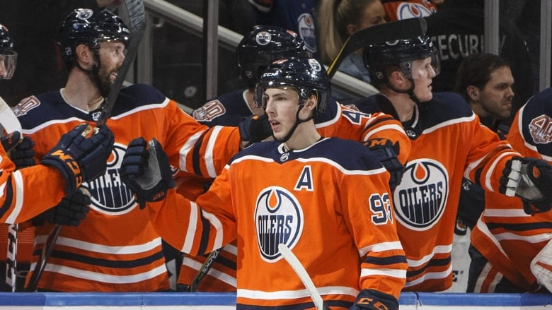 Nugent Hopkins Draisaitl Hat Tricks Power Oilers Past Kings Cbc