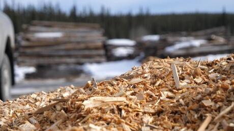 Wood chips at Teslin biomass facility
