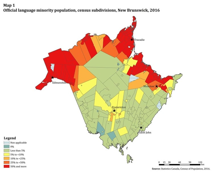 Map Of Canada New Brunswick.French Use Declines At Home And Work As Francophone Numbers Drop