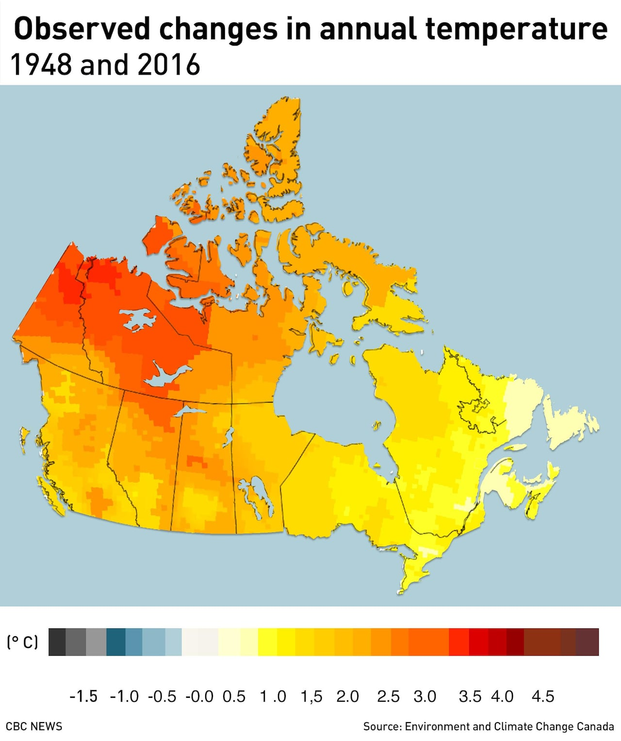 Image result for map Canada observed changes in annual temperatures 1948 2016
