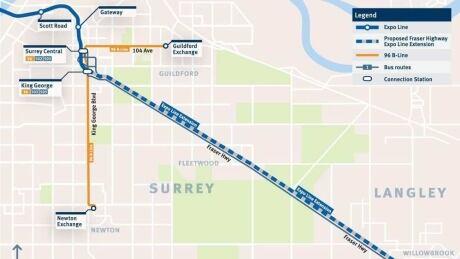 Surrey-Langley SkyTrain route