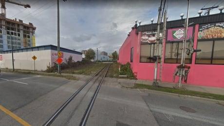 Street grade rail crossing Venables Prior Vancouver