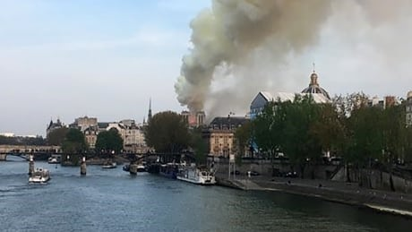 Notre-Dame Cathedral in Paris on fire