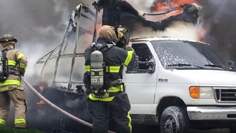 Truck engulfed by flames at Parent and Tuscarora