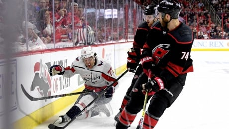 Hurricanes put a hurt on Capitals, Oshie to tie series 2-2
