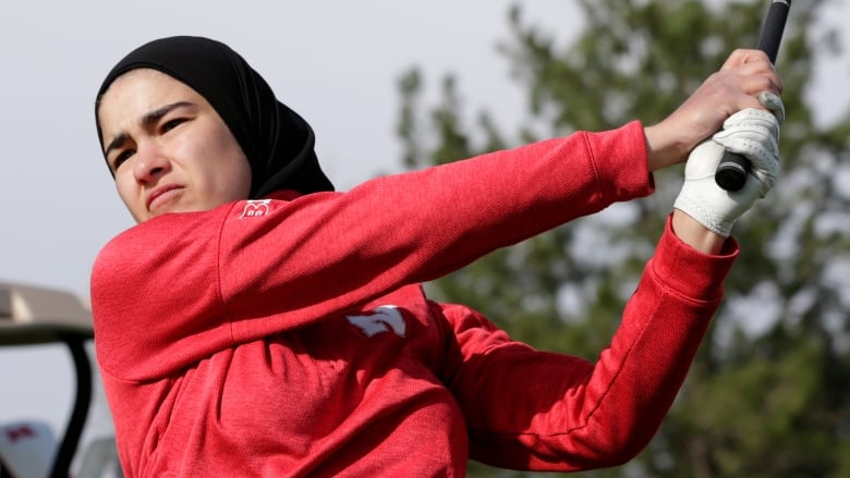 American college golfer in hijab out to blaze trail for Muslim women